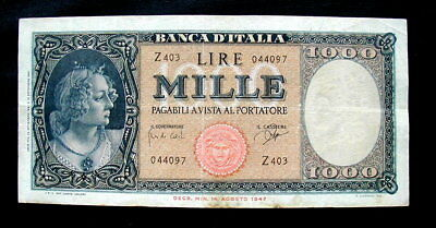 1947 ITALY Banknote Lire 1000 Medusa VF First date