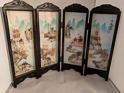 Vintage Chinese Mother of Pearl Folding Tabletop Screen Carved Shell Art Signed