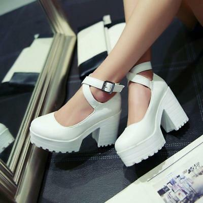 ed9d000950882 Womens Round Toe Chunky Heel Platform Ankle Strap Mary Jane Pumps Sandals  Shoes