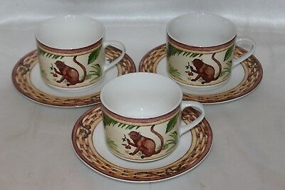 AMERICAN ATELIER Monkey Porcelain Tea Cup and Saucer Set of 3
