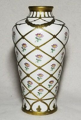 Victorian porcelain vase with flowers and brass overlay fish net design French?