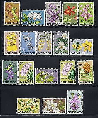BARBADOS 1974-77 ORCHIDS definitives complete VF MLH