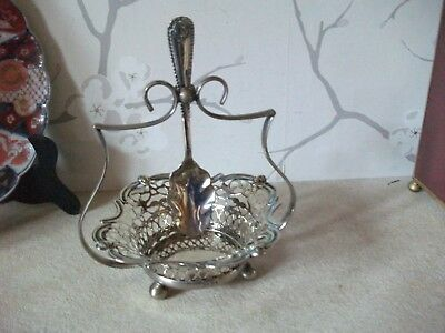 Victorian Sheffield Silver Plated Preserve Basket & Spoon
