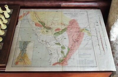 1883 Large Antique Map- North Western Arabia & Negd By Charles M. Doughty 26X20