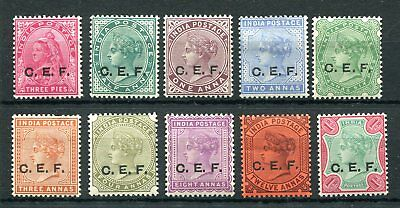 China Expeditionary Force 1900 India Queen Victoria set of 10 overprints mint