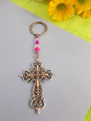 Antique Style Silver Cross - Crystal Bead Key Ring - Hot Pink And Clear # 398