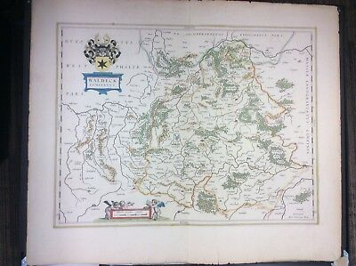 Antique Original Willem Blaeu Waldeck Amsterdam pre-1643 map