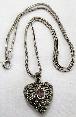 Fine sterling silver, marcasite & amethyst heart pendant + sterling chain