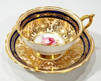 Gorgeous PARAGON Blue/Gold Floral Centered Cup & Saucer Fine English Bone China