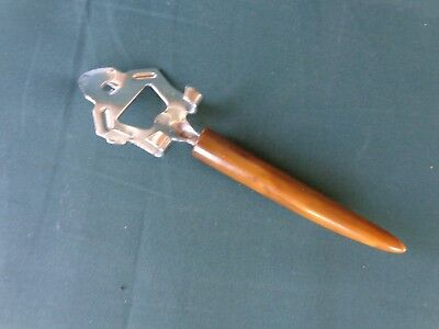 "Vtg Bakelite Handle Can Bottle Opener Lid Lifter Mid Century Barware 8"" length"