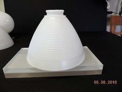 "Vintage Milk Glass Lamp Diffuser Globe Waffle Torchiere 8"" w 2 1/4"" Fitter"