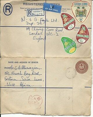 1968 Sierra Leone Registered Stationery Sticker Stamps Cala FREETOWN GB London