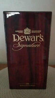 Dewar's Signature Wooden Box Display and Whisky Bottle Beautiful Cherry Finish