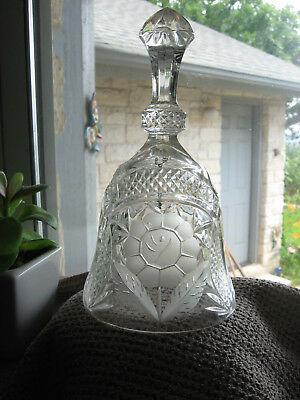 "Vintage Antique Clear Crystal Etched and Frosted Glass Hand Bell -  7"" Tall"