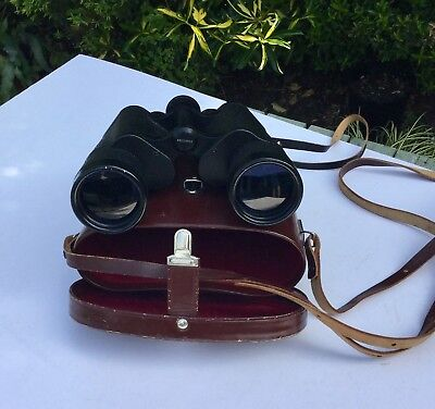 VINTAGE CARL ZEISS JENA  BINOCULARS 7 x 50 BINOCTEM WITH LEATHER CASE