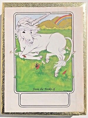 Unicorn Vintage bookplates Antioch Publishing Co USA 50 sheets paper tags labels