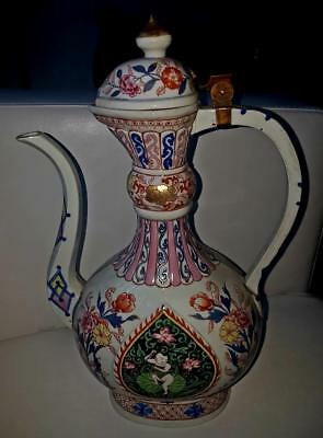 Antique French Paris Famille Rose Samson Armorial Chinese Porcelain Wine Pitcher