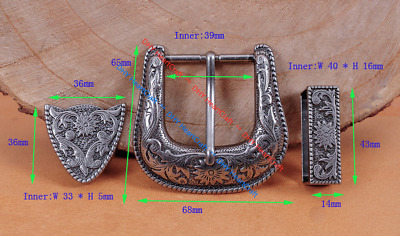Heavy Duty Cowboy Western Floral Engraved Antique Silver Belt Buckle Set 1-1/2""