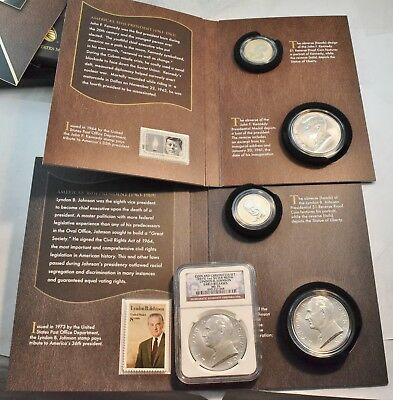 Lot of (3) Coin and Chronicles Silver Medals NGC, (2) Sets 2015 Kennedy, Johnson