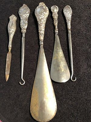 Antique Solid Silver Button Hooks And Shoe Horns