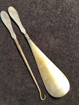Vintage Art Deco Solid Silver Handles Button Hooks And Shoe Horn