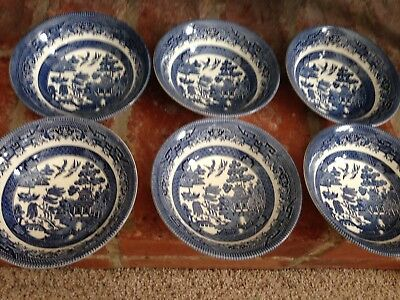 Churchill Willow Pattern Cereal Bowls X 6 Blue & White