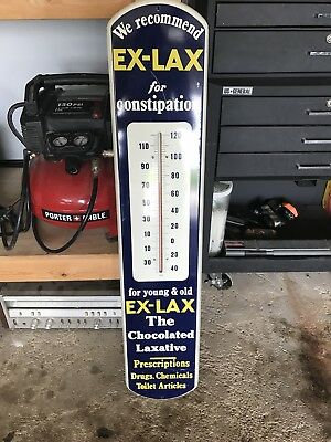 Antique Vintage EX LAX PORCELAIN Advertising Thermometer - VERY COOL