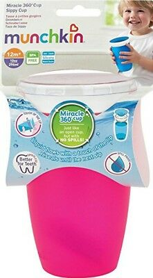 Munchkin Miracle 360 PINK No Non Spill Proof Sippy Trainer Cup Beaker 10oz 296ml