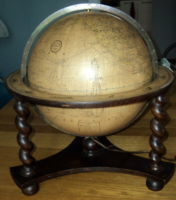Ancien Globe Terrestre Lumineux De Table Girard, Barrère & Thomas Paris 1930