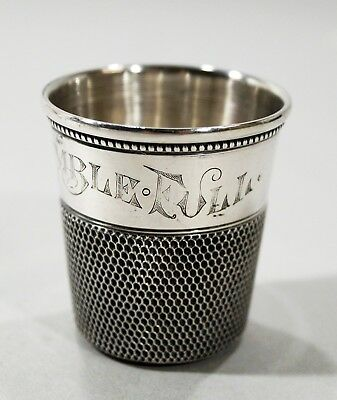 Large Sterling Simons Brothers Thimble Liquor Shot Cup - Only A Thimble Full