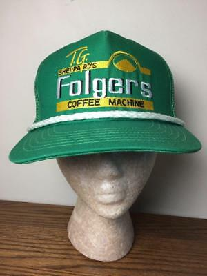 Vintage T.G. Sheppard's FOLGERS COFFEE MACHINE Mesh Truckers Hat Cap Advertising