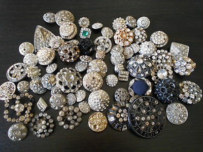 Antique/vintage 71 Terrific Rhinestone Buttons For Repair With Stones #477