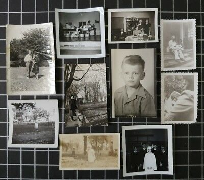 Lot of 10 Original B&W Found Old Photos Vintage Family Snapshots Black and White