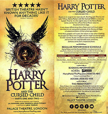 Harry Potter and the cursed Child - Original Flyer Theater/Theatre London NEW