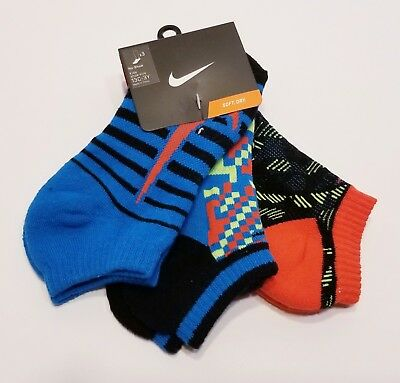 Nike Youth Performance Cotton Cushioned No-Show Kids Socks 3 Pack Size 13C-3Y