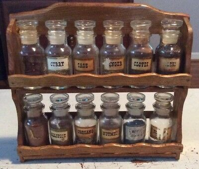 Old 1960 Spice Rack With All Bottles And Stoppers