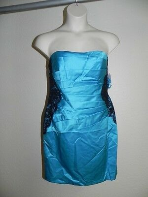 Davids Bridal Dress Size 6 Malibu Blue Strapless F15629