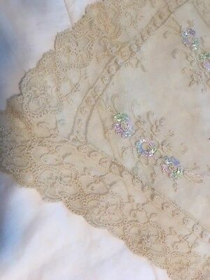 ANTIQUE BRUSSELS POINT de GAZE TAMBOUR LACE TULLE RUNNER SCARF Ecru/Colorful