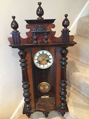 Antique Walnut Regulator Wall Mounted Clock