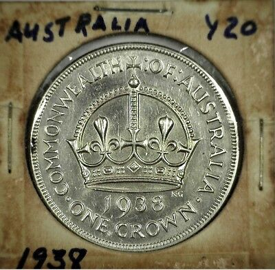 1938 Australia One Crown - Sterling Silver Commemorative - Only 101,600 Minted