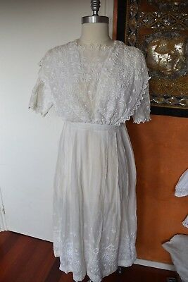 Robe Ancienne Brodee Circa 1918 Antique Victorian Edwardian Dress Lace