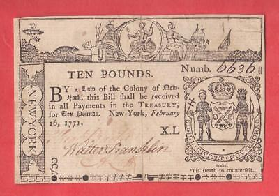 1771 10 Pounds N.Y. Colonial ANTIQUE Note 2/16/71 -  x2a