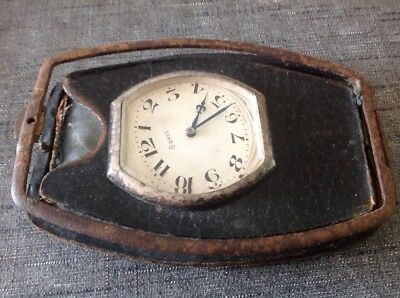 ANTIQUE 8 DAY SWISS TRAVEL CLOCK For Repair Or Parts