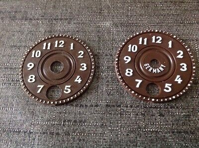 Two Pairs Cuckoo Clock Faces Dials Spare Parts New Old Stock 40mm