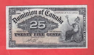 25¢ 1900 Dominion Of Canada BEAUTIFUL ANTIQUE CURRENCY    x2a