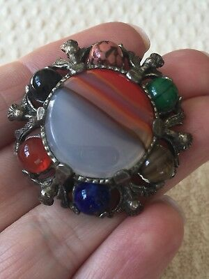 Vintage Signed Miracle Multi Colour Glass Agate Brooch