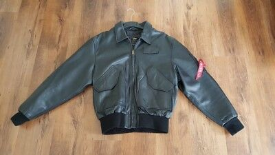 newest collection 60368 5d6ec ALPHA INDUSTRIES CWU 45 Lederjacke Schwarz XL Bomberjacke Leder Logo