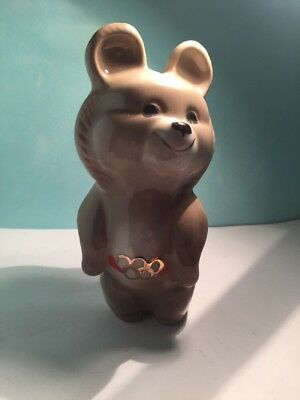 Medium Light Tan Misha Bear with Orange Ribbon Gold Rings Moscow 1980's Olympics