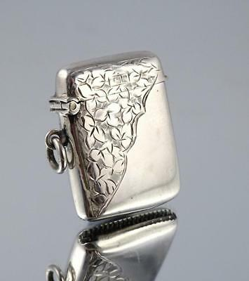 Antique 1906 Small Sterling Silver Vesta Case - Leaf Engraving - No Initials