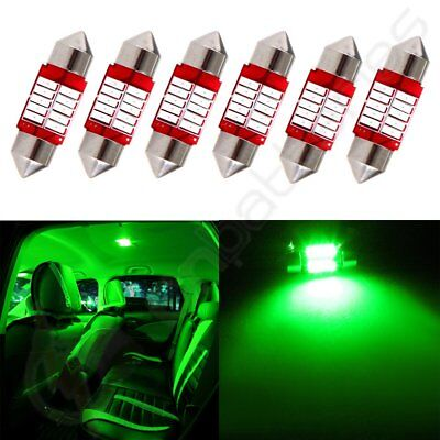 6x Interior Festoon Green 31mm Car LED 10SMD Bulb For Dome Map Trunk Lights 12V